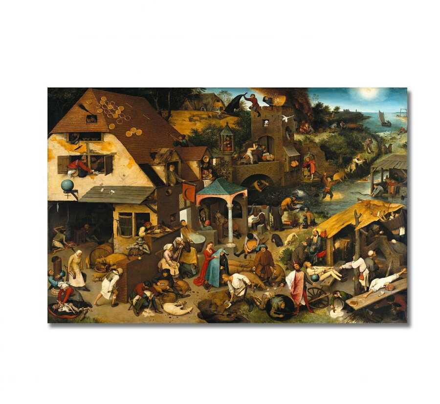 Pieter Bruegel - Dutch Proverbs Tablo |50 X 70 cm|